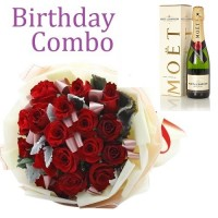 Birthday Package - Rose Bouquet + Moet Chandon Champagne