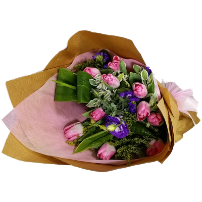 Holland Pink Color Tulips Bouquet Valentines Day