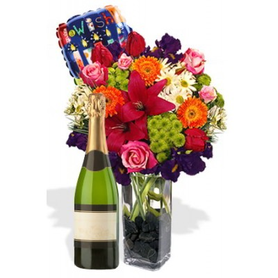 Mixed Bouquet Package , White Wine and Helium Balloon