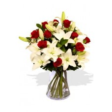 10 Roses and 7 Asiatic Lily Vase Bouquet