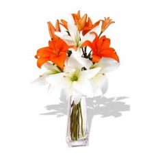 2 orange and 2 white Asiatic Lily Bouquet