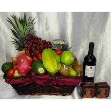 Mid Autumn Festival Fruits Hamper with Mini Mooncakes and Red Wine